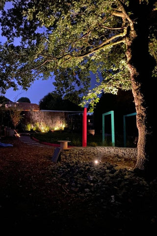 Low voltage 12v garden outdoor lighting. Garden spotlights create atmosphere and mood in this Harborne garden.