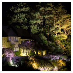 National Trust house at night