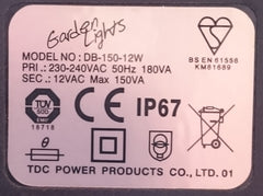 Low Voltage Garden Lights - 12v Transformer Label