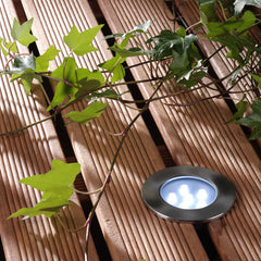 Techmar BREVUS 12v LED Low Voltage Outdoor Decking Light Mounted on Deck