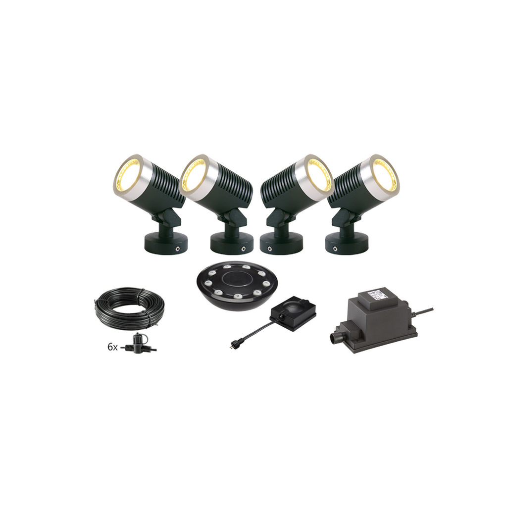 Low Voltage Garden Lights,  Techmar ARCUS 12v LED Low Voltage Garden Spotlight - 'All Inclusive Starter Set' - 4 spotlights (optional remote) - Starter Sets - TECHMAR original product