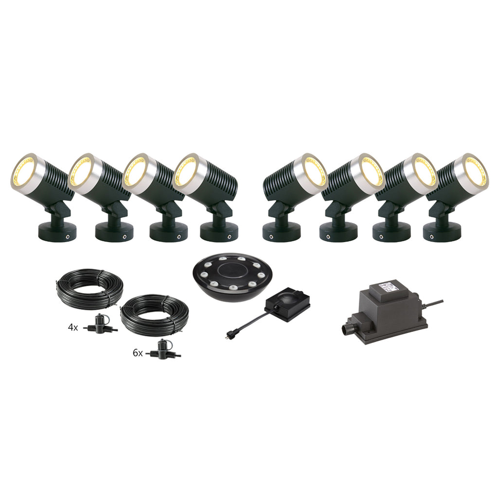 Low Voltage Garden Lights,  Techmar ARCUS 12v LED Low Voltage Garden Spotlight - 'All Inclusive Starter Set' - 8 spotlights (optional remote) - Starter Sets - TECHMAR original product
