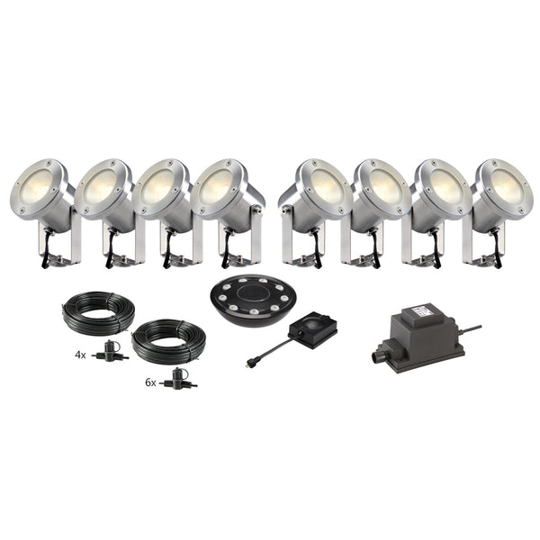 Low Voltage Garden Lights,  Techmar CATALPA 12v LED Low Voltage Garden Spotlight - 'All Inclusive Starter Set' - 8 spotlights (optional remote) - Starter Sets - TECHMAR original product - 1