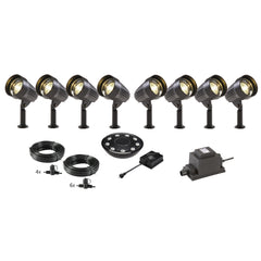 Low Voltage Garden Lights,  Techmar CORVUS 12v LED Low Voltage Garden Spotlight - 'All Inclusive Starter Set' - 8 spotlights (optional remote) - Starter Sets - TECHMAR original product - 1