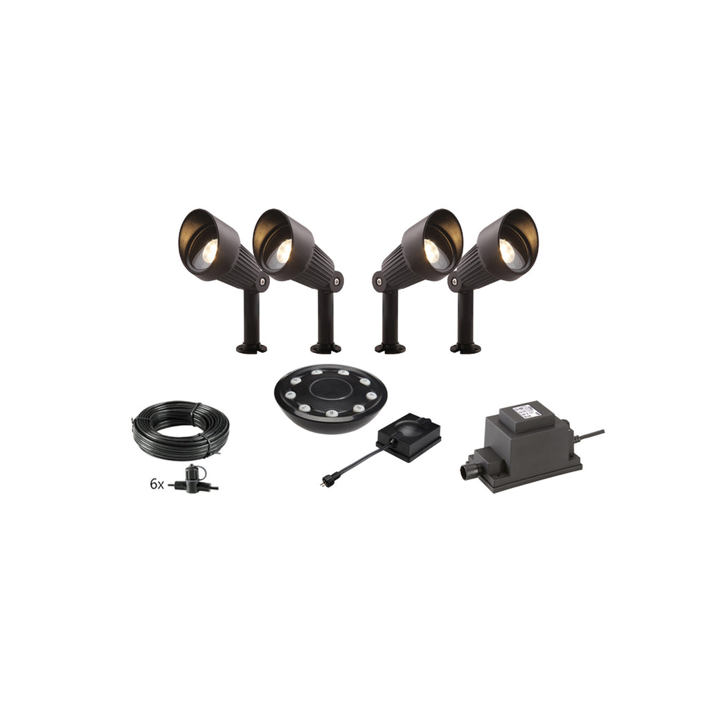 Low Voltage Garden Lights,  Techmar FOCUS 12v LED Low Voltage Garden Spotlight - 'All Inclusive Starter Set' - 4 spotlights (optional remote) - Starter Sets - TECHMAR original product - 1