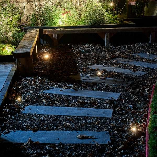 Low Voltage Garden Lights, In-lite FUSION 22 RVS 12v LED Low Voltage Outdoor Decking Lights ground recessed in garden pathway, lighting for effect and guidance.