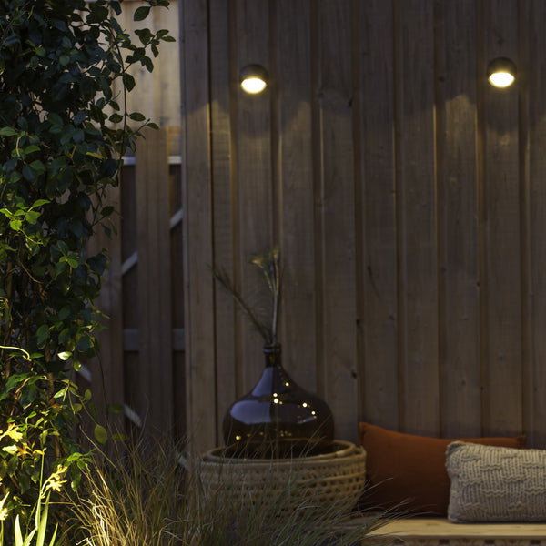 Low Voltage Garden Lights,  In-lite Blink Dark 12v LED outdoor wall lights above seating