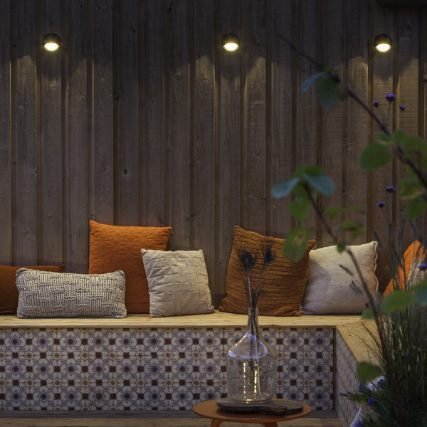 Low Voltage Garden Lights,  In-lite Blink Dark 12v LED outdoor wall lights above seating area
