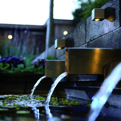 in-lite Cubid 12v wall lights above water feature