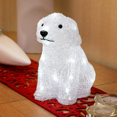 Konstsmide acrylic puppy dog sitting on side table