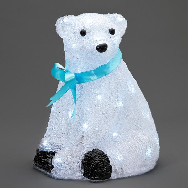 Konstsmide acrylic standing polar bear with blue ribbon