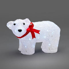 Konstsmide acrylic standing polar bear with red ribbon