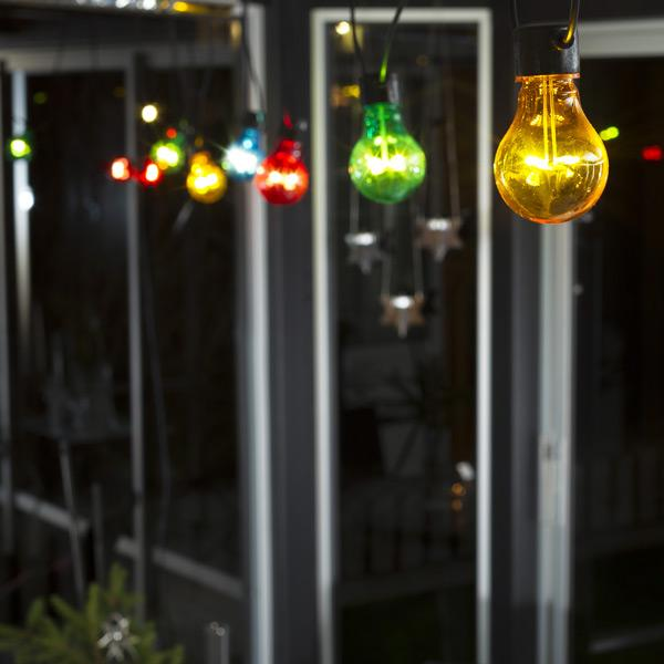 Konstsmide festoon led light set coloured LED decorating patio