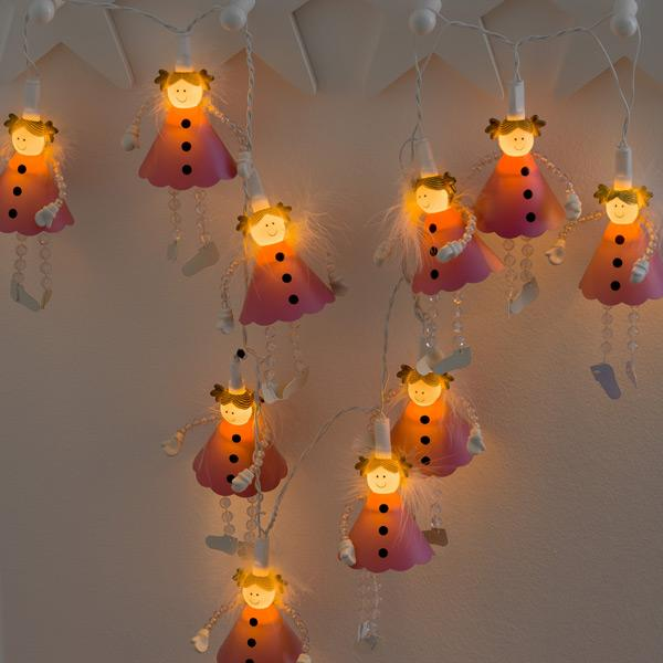 Konstsmide Mini Light Set 10 LED angels decorating wall