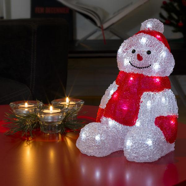 Konstsmide LED snowman sitting on table