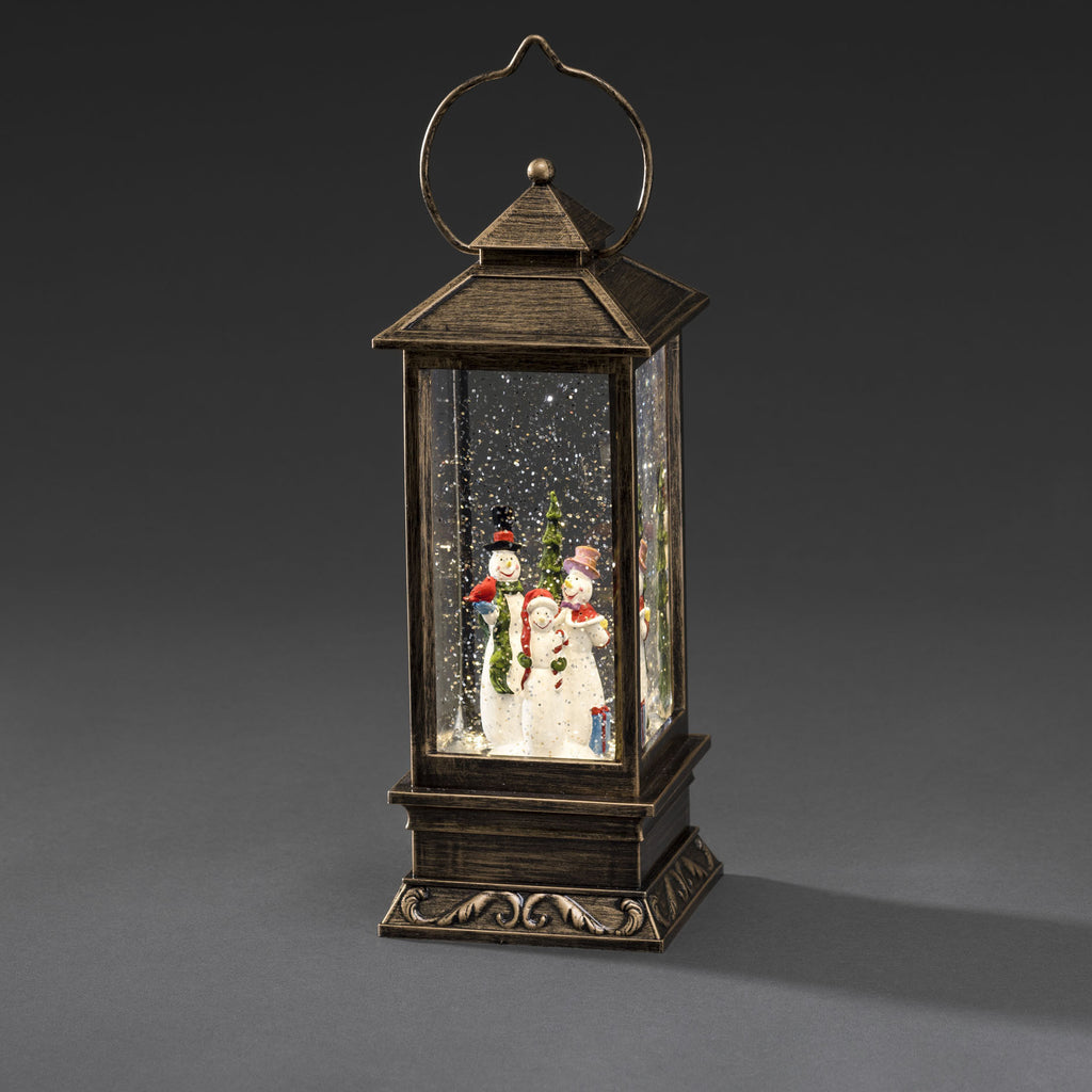 Konstsmide water filled lantern with snowmen scene