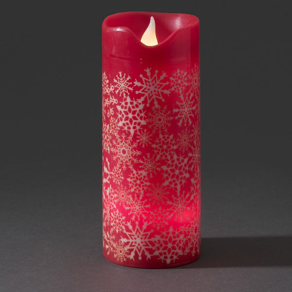 Konstsmide large LED wax candle red