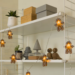 Konstsmide Mini Light Set 8 LED Ginger Boys on Display Cabinet