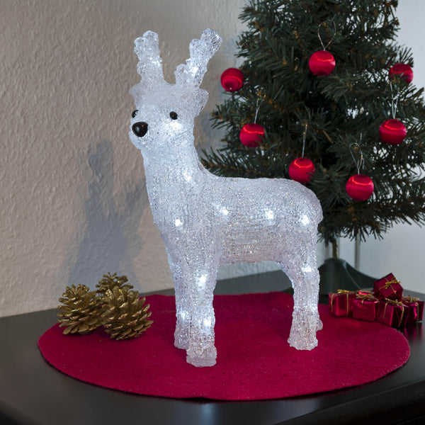Konstsmide acrylic reindeer decorating side table