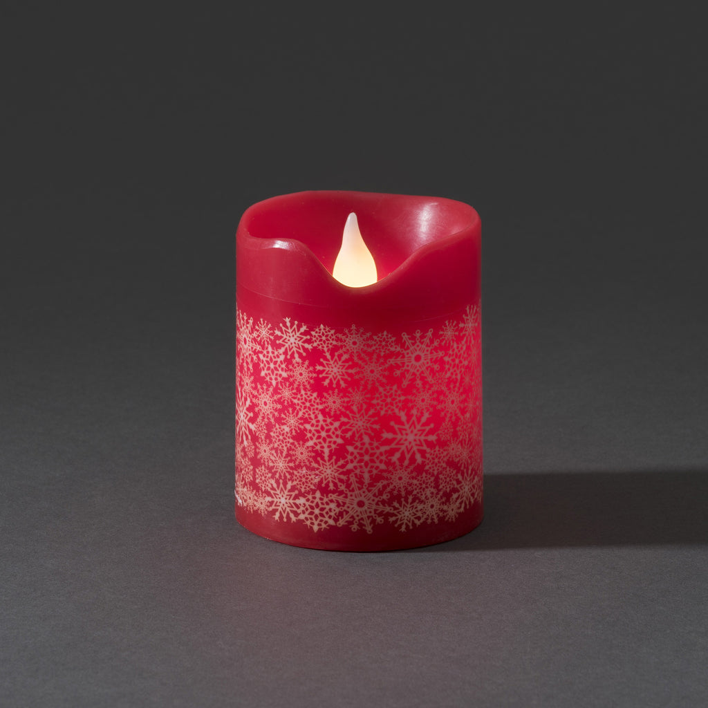 Konstsmide small LED wax candle red