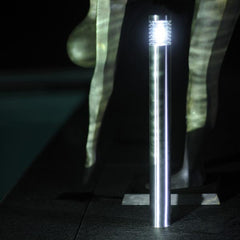 Argos 12v post light illuminating walkway and statue