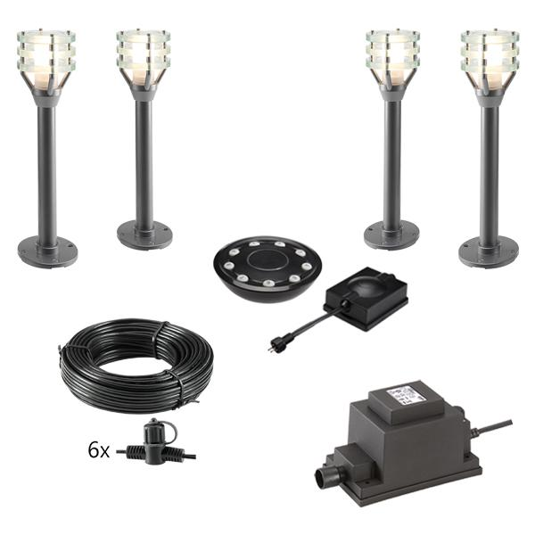 Low Voltage Garden Lights,  Techmar VITEX 12v LED Low Voltage Garden Post Light - 'All Inclusive Starter Set' - 4 post light