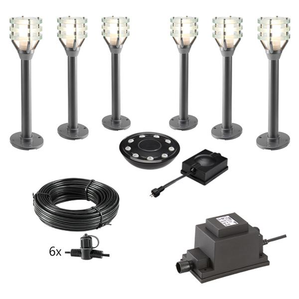 Low Voltage Garden Lights,  Techmar VITEX 12v LED Low Voltage Garden Post Light - 'All Inclusive Starter Set' - 6 post light