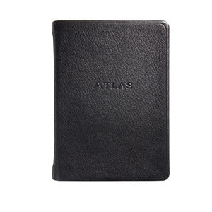 black small leather atlas