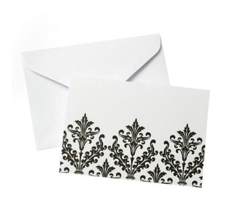Black & White Damask Note Cards