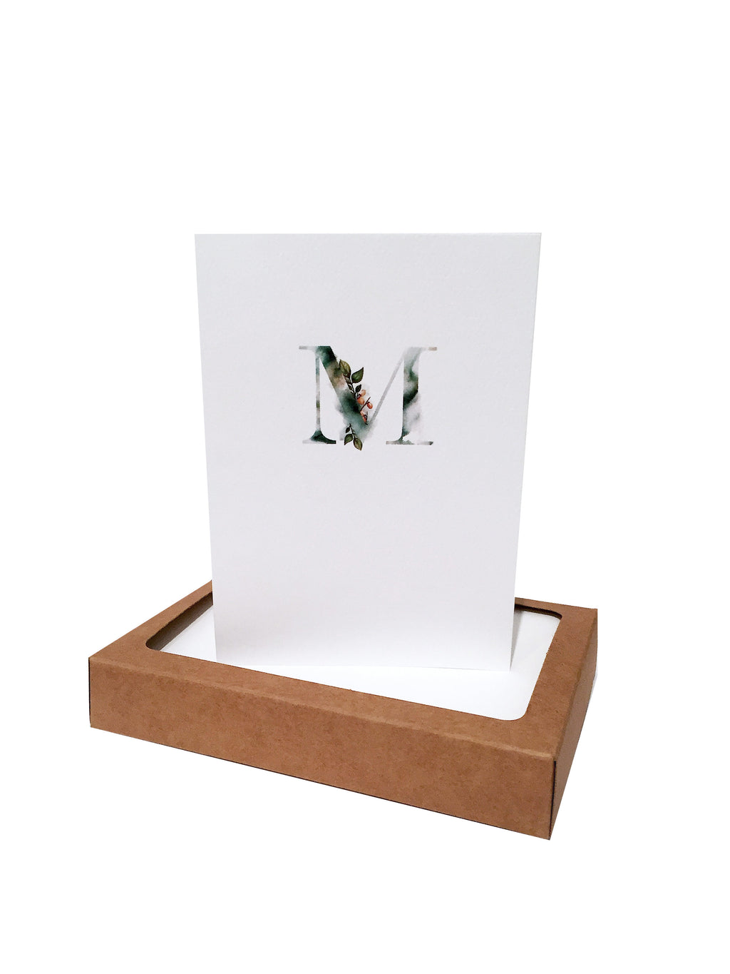 Watercolor initial note card stationery