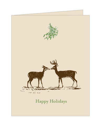 Kissing Deer Gold Holiday Card