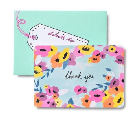 WHIMSICAL THANK YOU CARDS WITH POLKA DOT LINED ENVELOPES