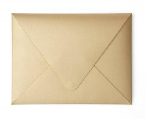 GOLD VEGAN LEATHER DOCUMENT ENVELOPE