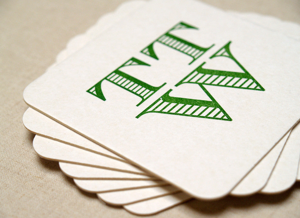 Personalized Letterpress Coasters