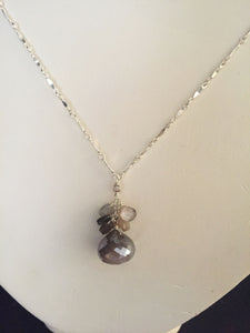 Chocolate and Silver Moonstone Necklace