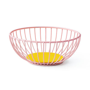 Small Pink and Yellow Orange and Pink Iris Wire Basket