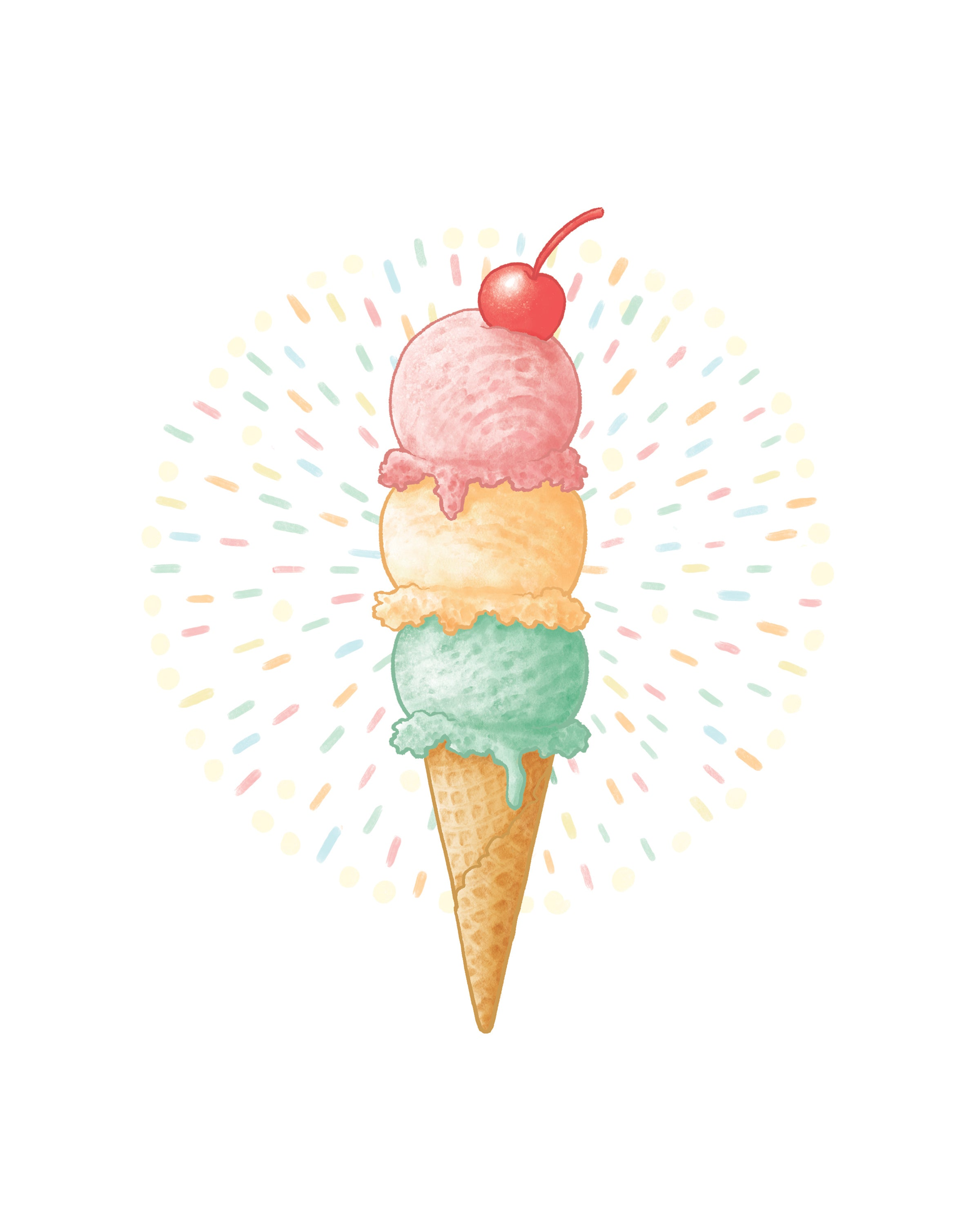 Ice Cream Cone Print by Madam Puddle Duck