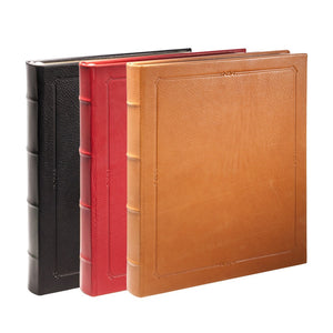 "11"" Hardcover Leather Journal in black, red, british tan"