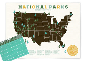 National Parks Explorers Guide Giclee Map