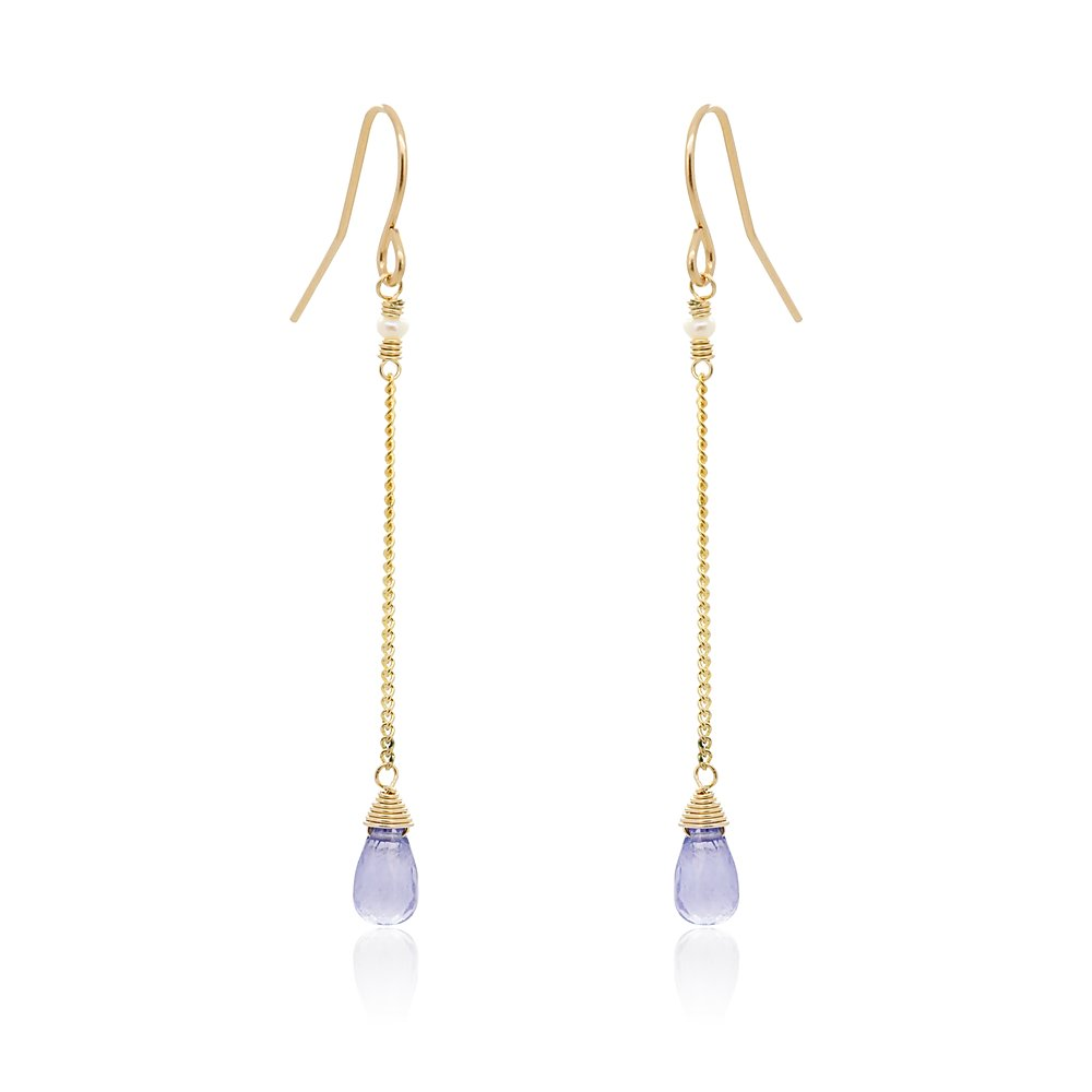Iolite Hanging Drop Earrings