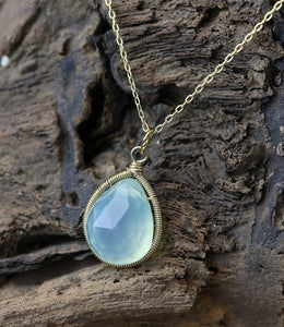 Chalcedony Pear Drop Necklace