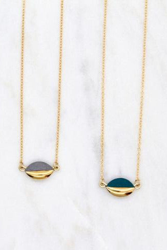 Gold Dipped Mini Marquise Necklace