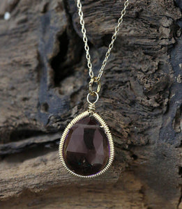 Smoky Quartz Pear Drop Necklace