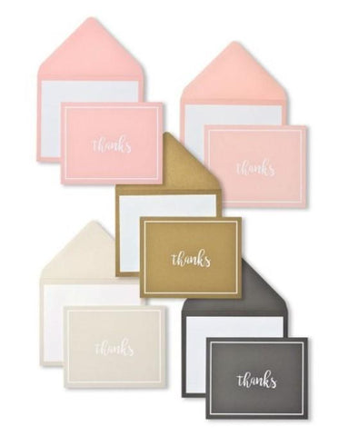 PEACH, ROSE, GOLD, SILVER & BLACK THANK YOU NOTE ASSORTMENT