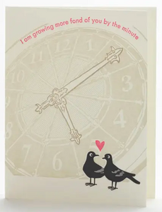 Fonder by the Minute Pigeons Love Card