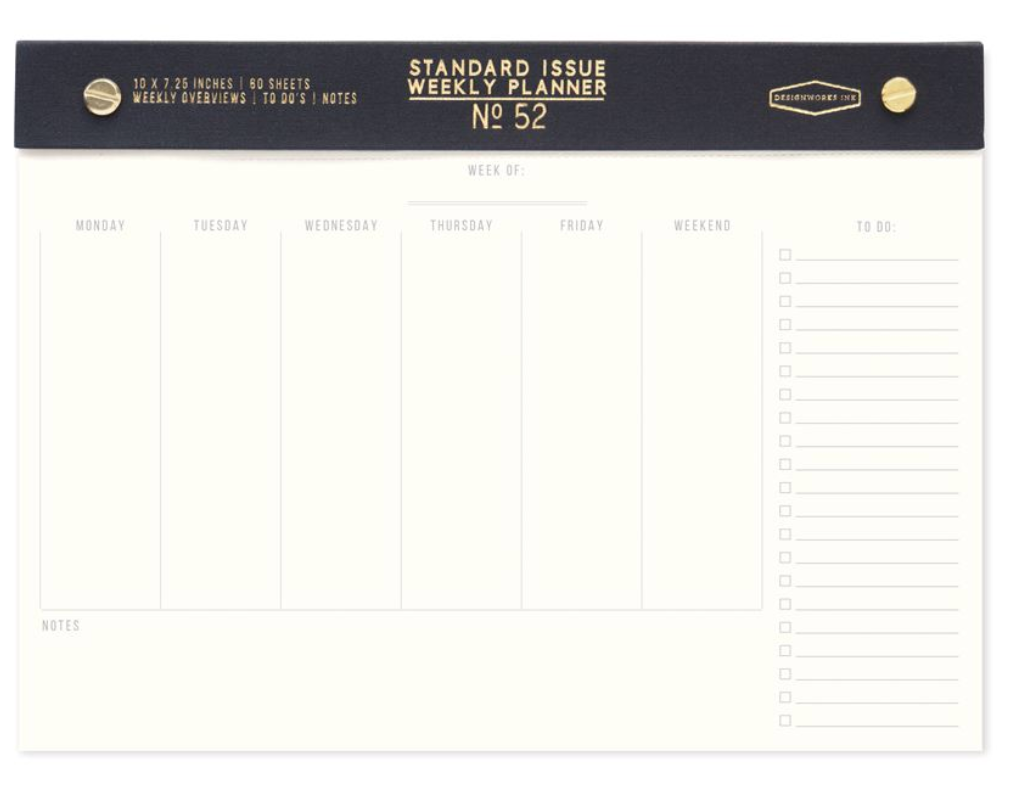 Standard Issue Undated Weekly Planner Desk Pad