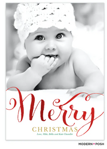 Merry Christmas Foil Pressed Holiday Flat Photo Card