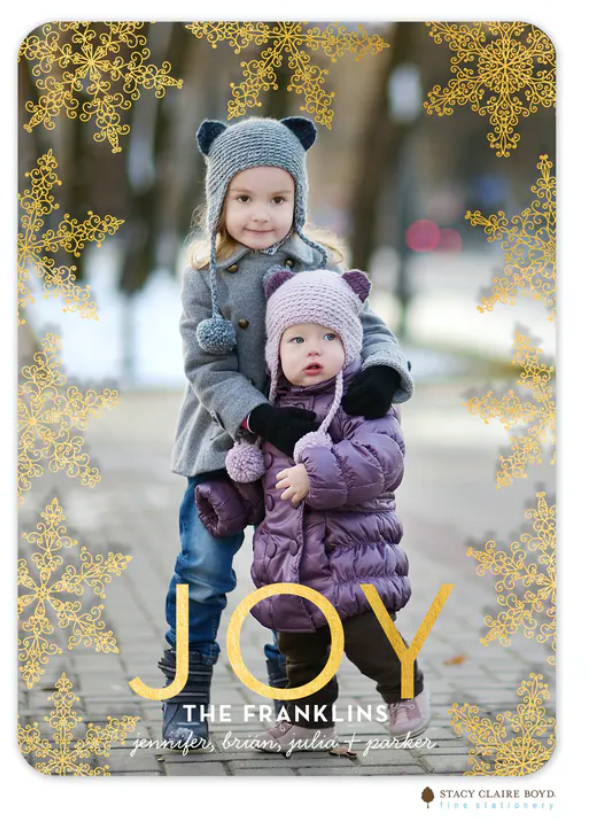 Lovely Flakes Foil Pressed Holiday Flat Photo Card