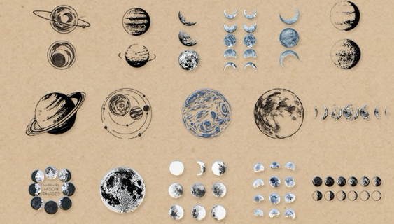 Moon Phase and Planet Planner Stickers