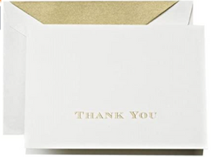 Crane & Co. Gold Hand Engraved Thank You Notes - Set of 10
